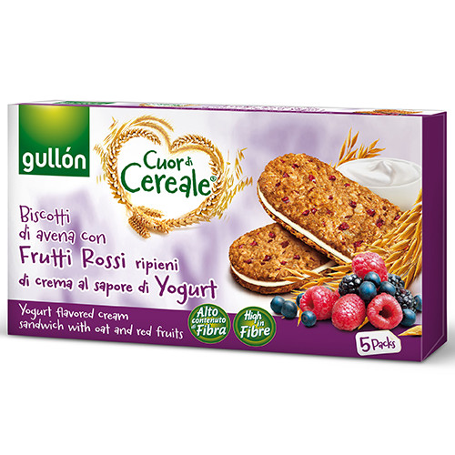 GULLON μπισκότα βρώμης γεμιστά 220gr yog-red fruit