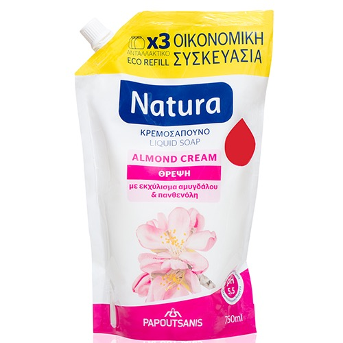ΠΑΠΟΥΤΣ NATURA REFILL ALMOND 750ml ΚΡΕΜ/ΝΟ -0,45€