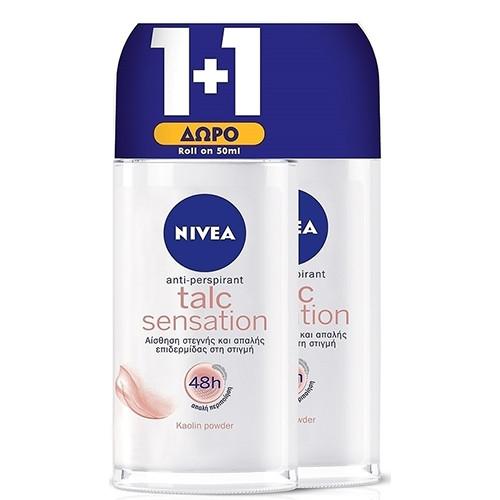 NIVEA roll on 50ml 1+1 women (ΕΛ) talc sensation