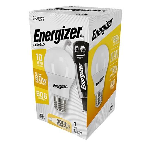 ENERGIZER LED GLS E27 9/60W WARM WHITE 3000k