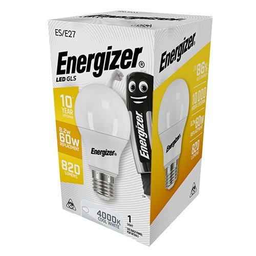 ENERGIZER LED GLS E27 9/60W COOL WHITE 4000k