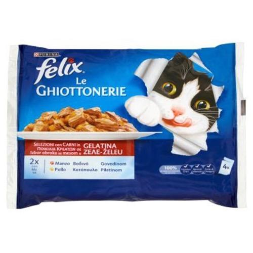 FELIX ΓΑΤΟΤΡΟΦΗ GHIO 4X100γρ (ΕΛ)μοσχάρι-κοτόπουλο