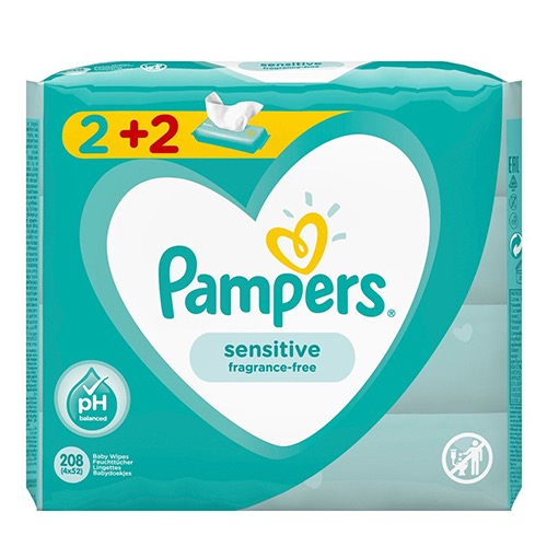 PAMPERS baby wipes 4Χ52τεμ (ΕΛ) sensitive
