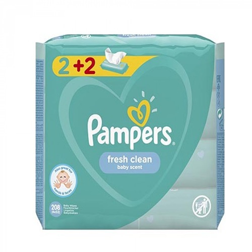 PAMPERS baby wipes 4Χ52τεμ (ΕΛ) fresh