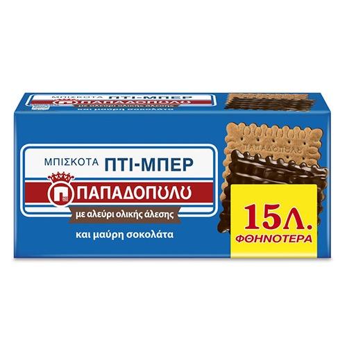 ΠΑΠΑΔΟΠΟΥΛΟΥ ΠΤΙ ΜΠΕΡ 200γρ -0,15 ΕΛ μαύρη σοκολ