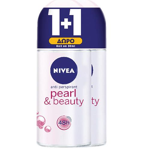 NIVEA roll on 50ml 1+1 women (ΕΛ) pearl beauty