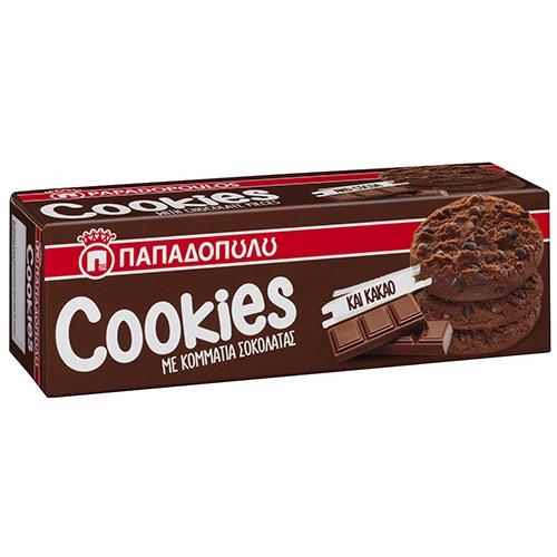 ΠΑΠΑΔΟΠΟΥΛΟΥ COOKIES 180gr (ΕΛ) διπλή σοκολάτα