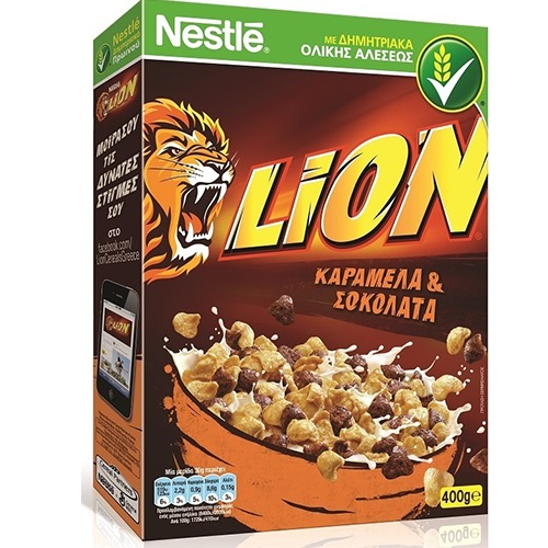 NESTLE LION δημητριακά 400gr (ΕΛ)καραμέλα-σοκολάτα