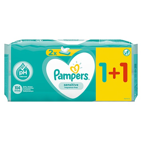 PAMPERS baby wipes 2X52τεμ (1+1) sensitive (EΛ)