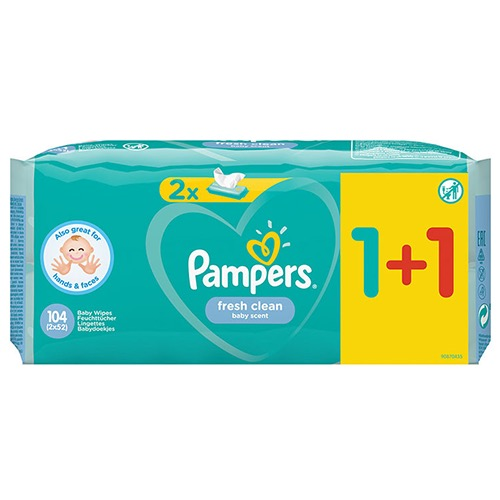 PAMPERS baby wipes 2X52τεμ (1+1) fresh clean (EΛ)
