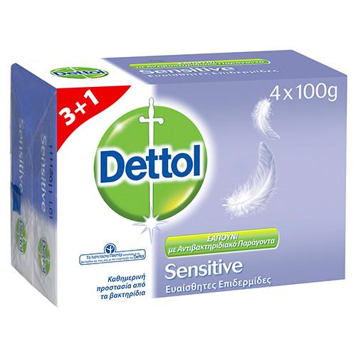 DETTOL σαπούνι 100gr 3+1δώρο(EΛ) ευαίσθητα