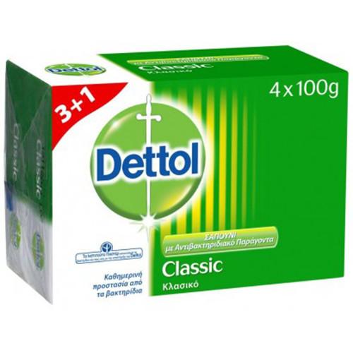 DETTOL σαπούνι 100gr 3+1δώρο(EΛ) classic