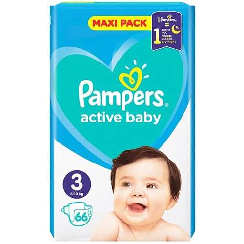 PAMPERS active baby No3 6-10kg 66τεμ (ΕΛ)