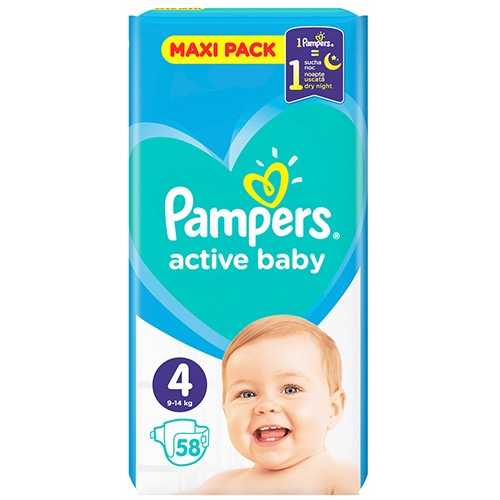 PAMPERS active baby No4 (9-14kg) 58τεμ (ΕΛ)