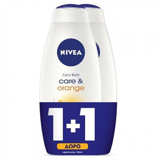 NIVEA αφρόλ. 750ml 1+1 (ΕΛ) care n' orange