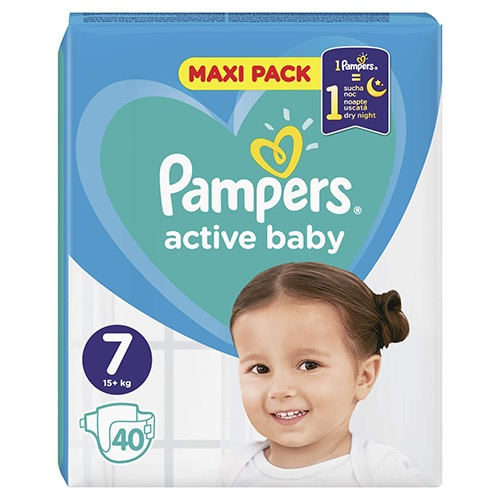 PAMPERS active baby No7 (15+kg) 40τεμ (ΕΛ)